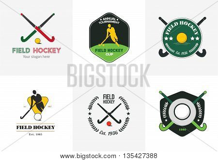 Field hockey logo set. Vector sport badges with man silhouette, stick and hockey ball