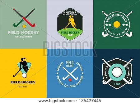 Field hockey logo set. Vector sport badges with woman silhouette, stick and hockey ball