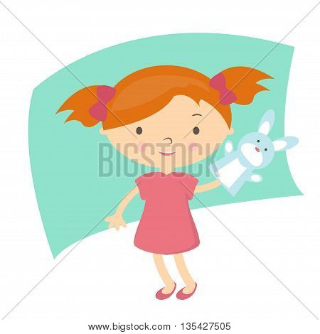 Illustration Small Girl With Hand Puppet Toy. Vector