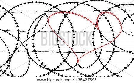 Natural heart shape (digitally coloured red) in a barbed wire fence isolated on white background. Love, freedom, peace and compassion concepts.