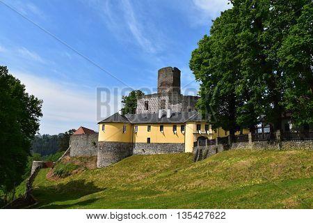 Svojanov castle on a sunny day. Czech republic.