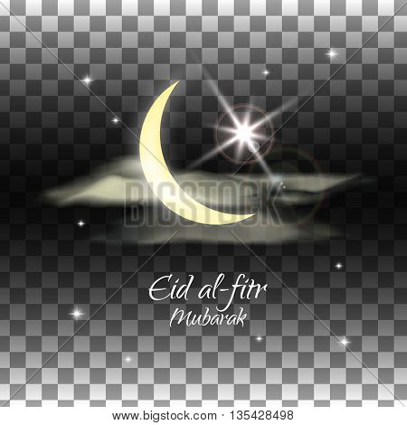 Eid al-fitr vector illustration on transparent background. Crescent and star. Blue and purple design for the festival.