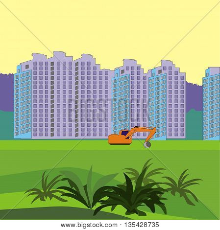 Illustration about construction of a new neighborhood of territory with working excavator