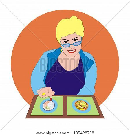 Illustration happy woman pensioner chooses from a menu in a restaurant
