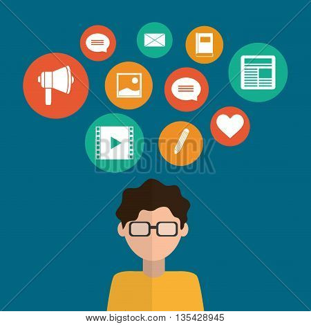 Technology  concept about networking icons design, vector illustration 10 eps graphic.