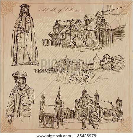 Travel collection.LITHUANIA traveling set.Pictures of Life Republic of Lithuania.Hand drawn vector pack freehand sketching.Illustrations are editable by layers.All things are named inside the vector