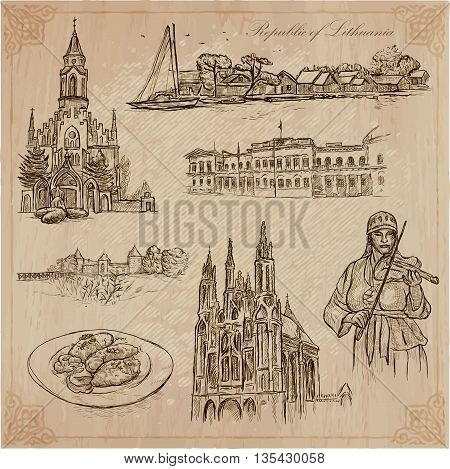 Travel collection.LITHUANIA traveling set.Pictures of Life Republic of Lithuania.Hand drawn vector pack freehand sketching.Illustrations are editable by layers. All things are named inside the vector