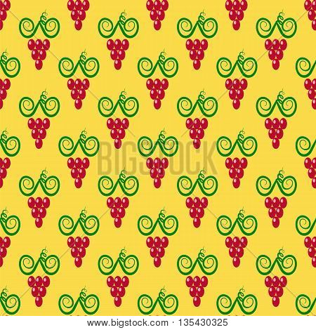 Grapes Seamless Pattern. Red Grapes Silhouettes Background