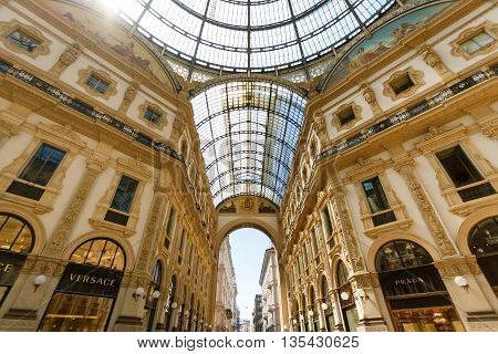Milan Italy - May 04 2016: View of the roof of the Gallery Emanuele Vittorio famous shopping mall of Europe