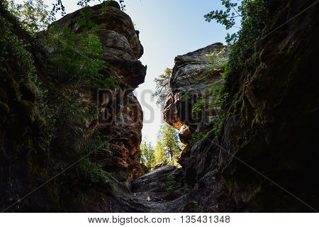 The narrow passage between the rocks, Russia, Ural