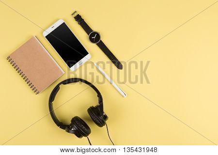 Smartphone, Notepad, Headphones, Pen And Watch