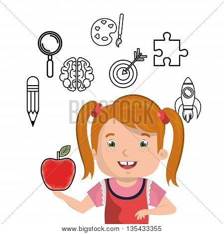 girl studying isolated icon design, vector illustration graphic