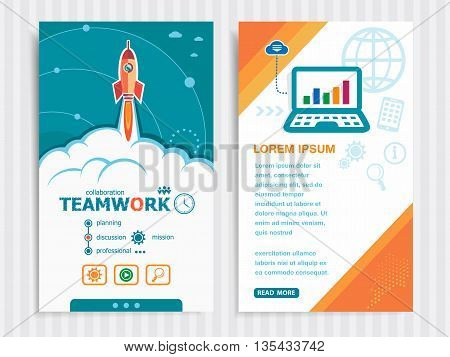 Project Teamwork Template And Set Of Banners.