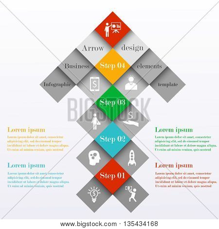 Abstract infographic arrow design template. Arrow consists of colorful squares with 4 steps or options. Can be used for workflow layout, banner, chart, web design. Business concept.