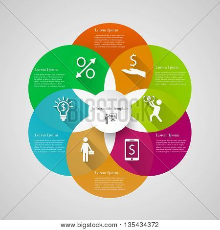 Infographic circle cover template with 6 options, icons and text. Can be used for workflow layout, banner, chart, web design