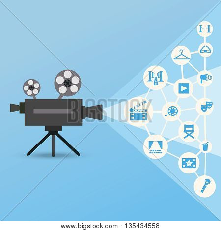 Movie projector with blue light and cinema and theatre icons. Clean stylized illustration on blue background. Infographic concept