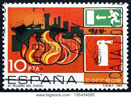 SPAIN - CIRCA 1984: a stamp printed in the Spain shows Fire Industrial Accident Prevention circa 1984