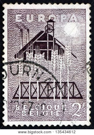 BELGIUM - CIRCA 1957: a stamp printed in the Belgium dedicated to United Europe United Europe for Peace and Prosperity circa 1957