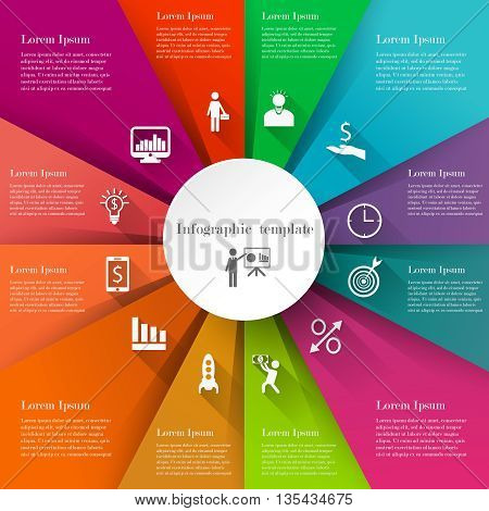 Infographic business template. Concept with 12 options, parts or steps. Text information design with long shadows icons