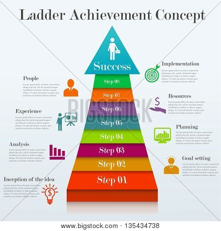 Ladder achievement concept. Infographic template of 8 stages way to success. Concept with 8 options, steps. Can be used for workflow layout, diagram, step up options, web design. Business elements