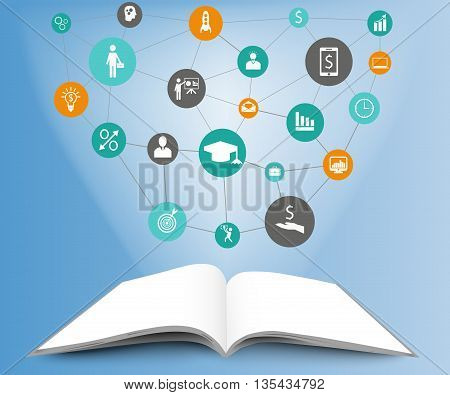 Illustration of infographic template in open book. Open book on blue background with icons. Infographic design concept