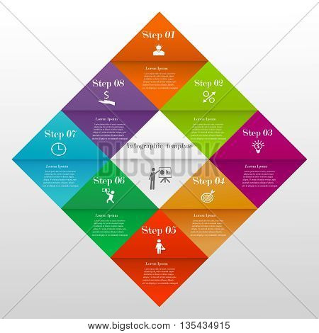 Abstract 3D colorful divided diamond digital infographic template. Vector illustration can be used for workflow layout, diagram, number options, web design. Business concept with 8 options or steps