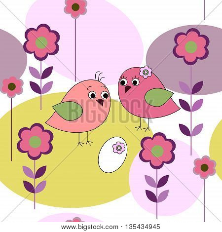 Seamless card with a birds and flowers
