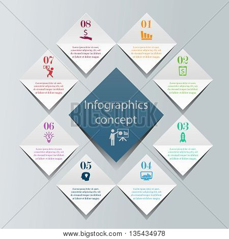 Abstract 3D digital infographics concept. Vector illustration can be used for workflow layout, diagram, number options, web design. Business template with 8 options or steps
