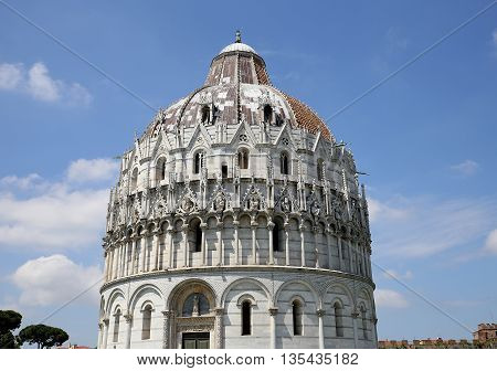 Exteriors Of Pisa Baptistry, Pisa, Italy