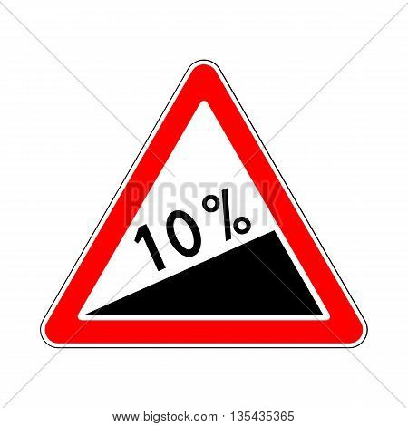 Traffic-Road Sign: Steep Climb or Steep Slope