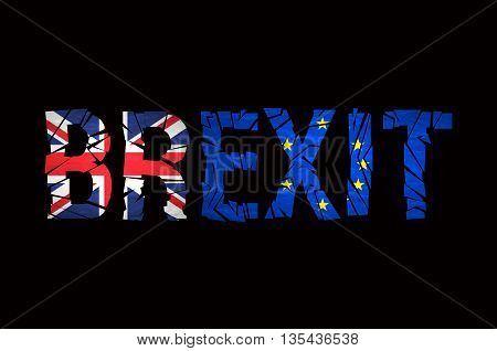 Brexit Text Isolated. Brexit Cracks Text Isolated. United Kingdom Exit From Europe Relative Image. B