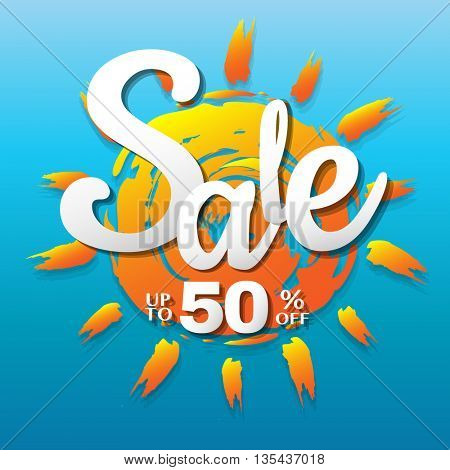 Summer Sale Banner, Vector Illustration
