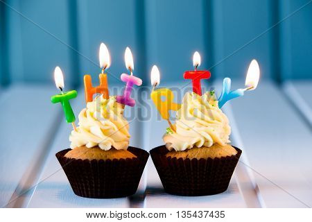 Cupcake With A Candles For 30 - Thirtieth Birthday