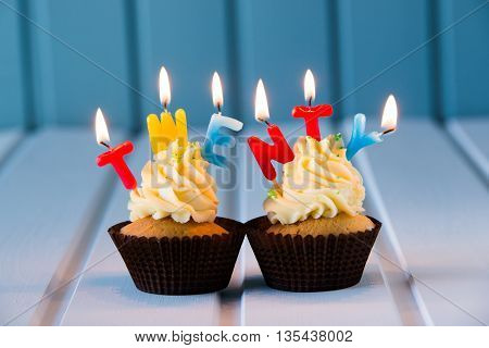 Cupcake With A Candles For 20 - Twentieth Birthday