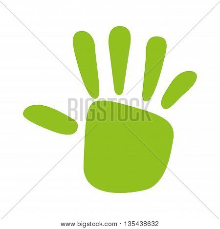 green hand print  isolated icon design, vector illustration  graphic