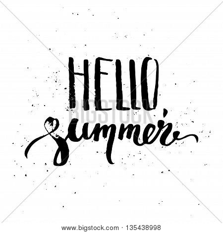Hello summer hand lettering. Ink design element on grungy background.