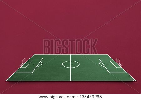 Soccer field plan against red background