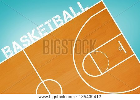 Basketball message on a white background against blue vignette background