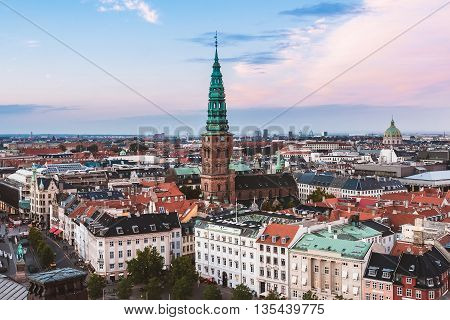Panoramic View Of Evening Copenhagen Roofs