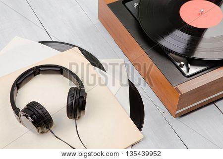 Vintage Turntable And Headphones