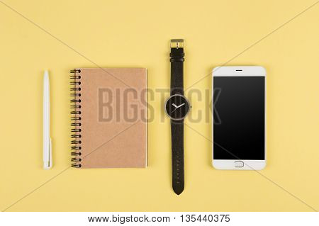 Smartphone, Notepad, Pen And Watch