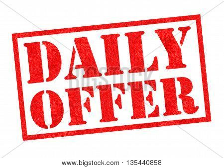 DAILY OFFER red Rubber Stamp over a white background.