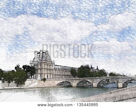 Boats on the river Seine pass beneath the Alexandre III bridge in Paris