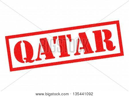 QATAR red Rubber Stamp over a white background.
