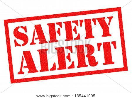 SAFETY ALERT red Rubber Stamp over a white background.