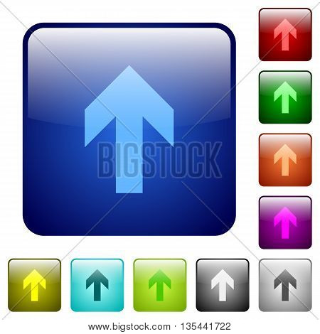 Set of up arrow color glass rounded square buttons