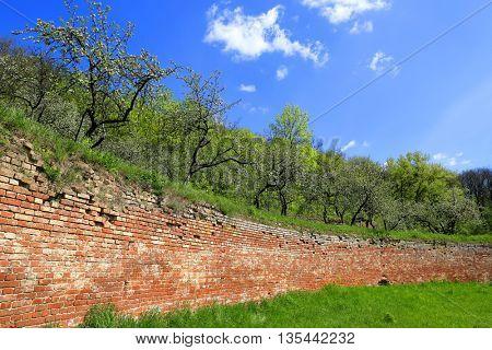 red brickwork wall in singening terraces. Ukraine, Kharkov