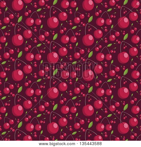 Seamless Pattern Of Juicy Cherries. Vector Illustration