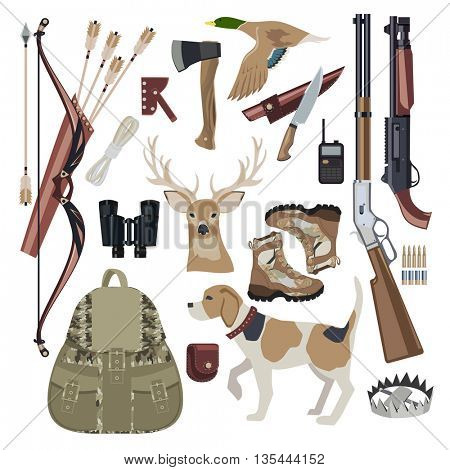 Hunting icon set design elements. Hunting equipment with Dog. Flat style. Vector illustration.