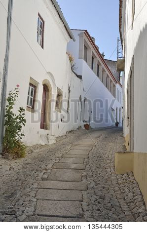 Stone alley in the medieval village of Marvao Portugal